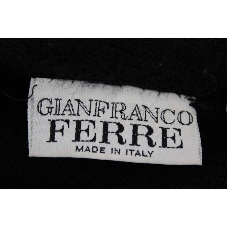 Gianfranco Ferre vintage wool angora and leopard fur jacket black  For Sale 1