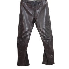 Tom Ford for Gucci brown leather motorcyclist pants 1990s biker trousers