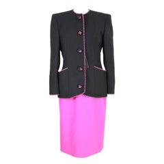 NWT Mario Borsato vintage skirt suit tailleur black purple women's 1980s size 46