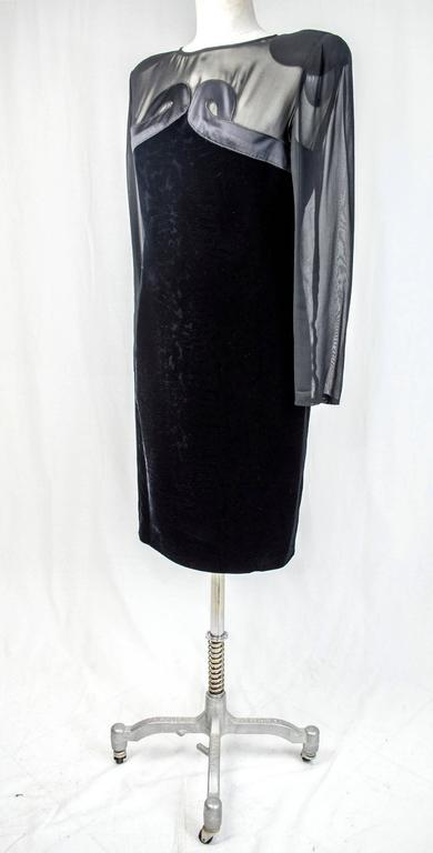 Valentino vintage 80's evening grown dress women's black silk velvet sz 46 italy 4