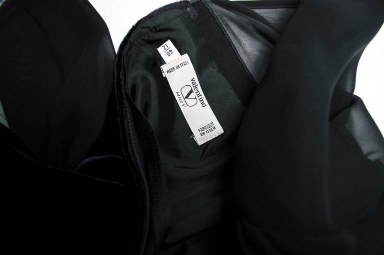 Valentino Sheat Black Silk Velvet Italian Dress, 1980 For Sale 1