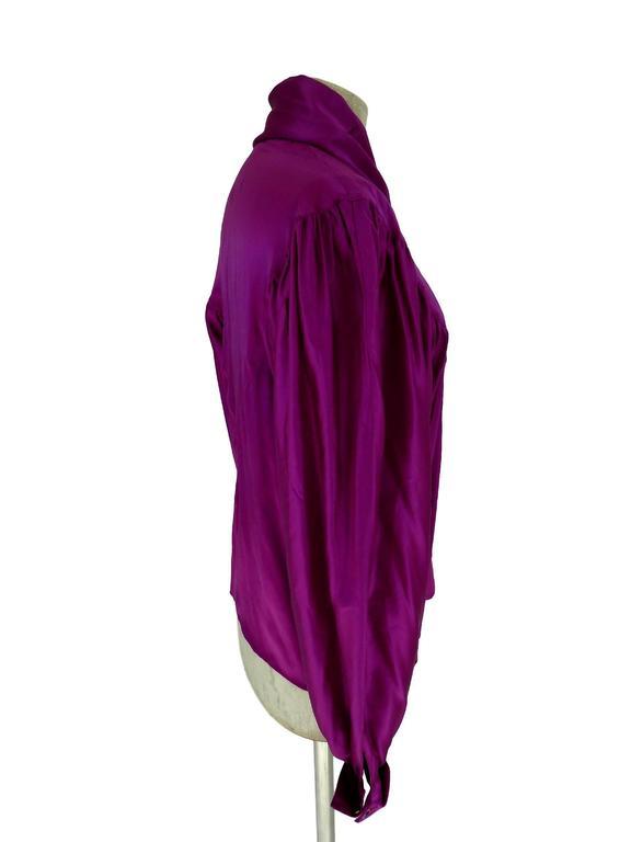 Thierry Mugler vintage 1990s blouse silk women's purple 42 shawl collar balloon 4