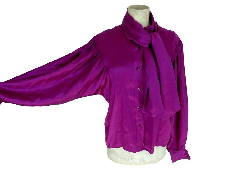 Thierry Mugler vintage 1990s blouse silk women's purple 42 shawl collar balloon 2