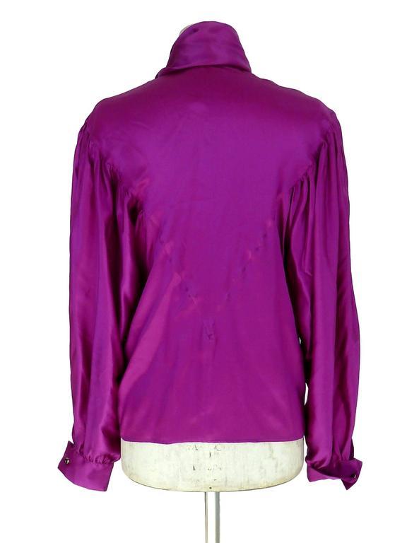 Thierry Mugler vintage 1990s blouse silk women's purple 42 shawl collar balloon 3