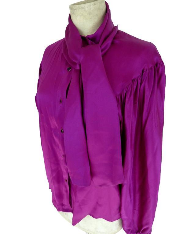 Thierry Mugler vintage 1990s blouse silk women's purple 42 shawl collar balloon 5