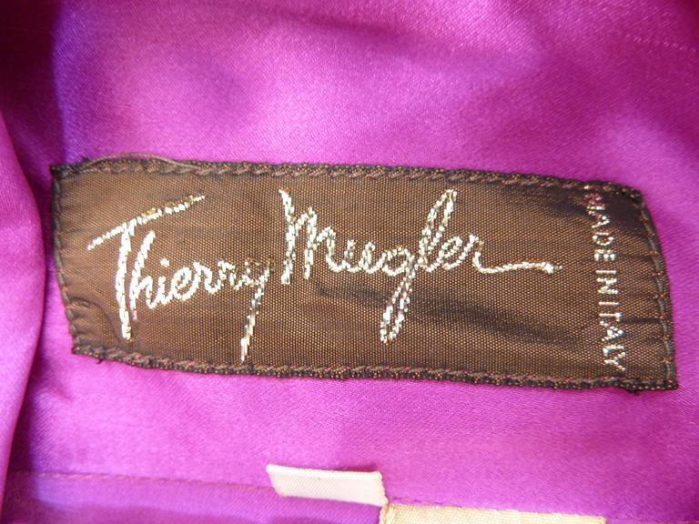 Thierry Mugler vintage 1990s blouse silk women's purple 42 shawl collar balloon 7