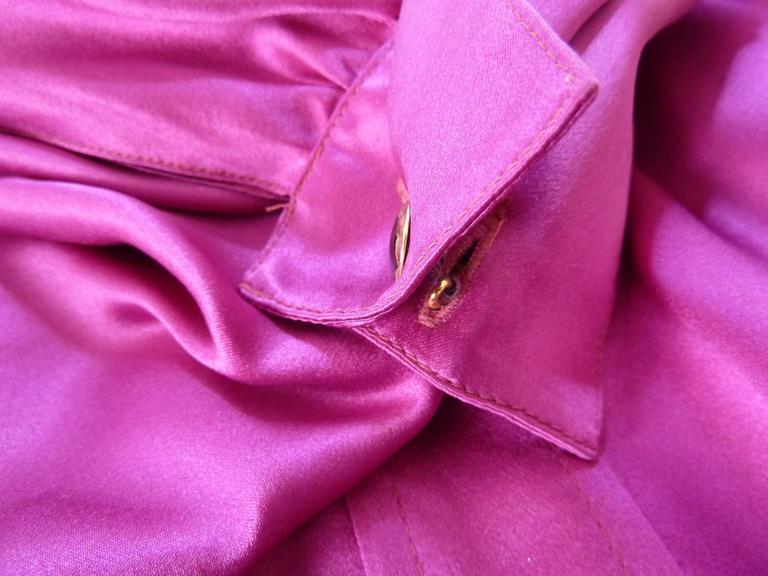 Thierry Mugler vintage 1990s blouse silk women's purple 42 shawl collar balloon 6