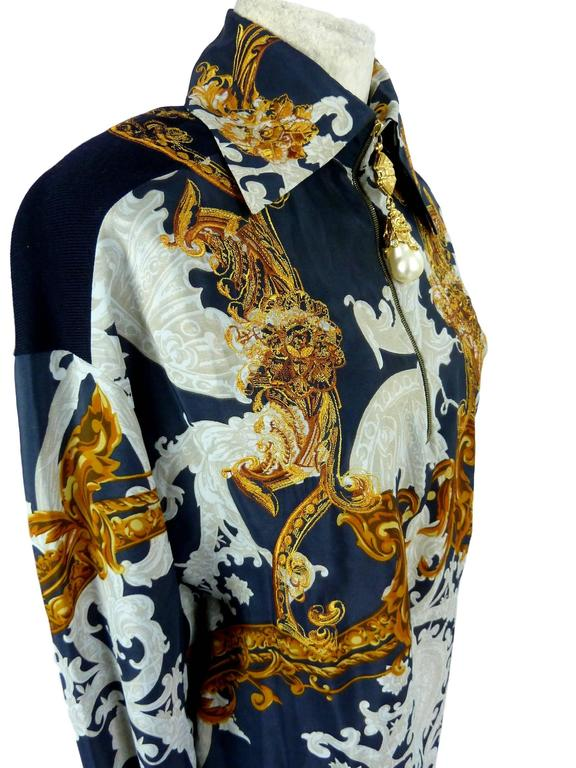 Gianfranco Ferrè baroque vintage blouse blue silk size 38 woman's 1980's 4