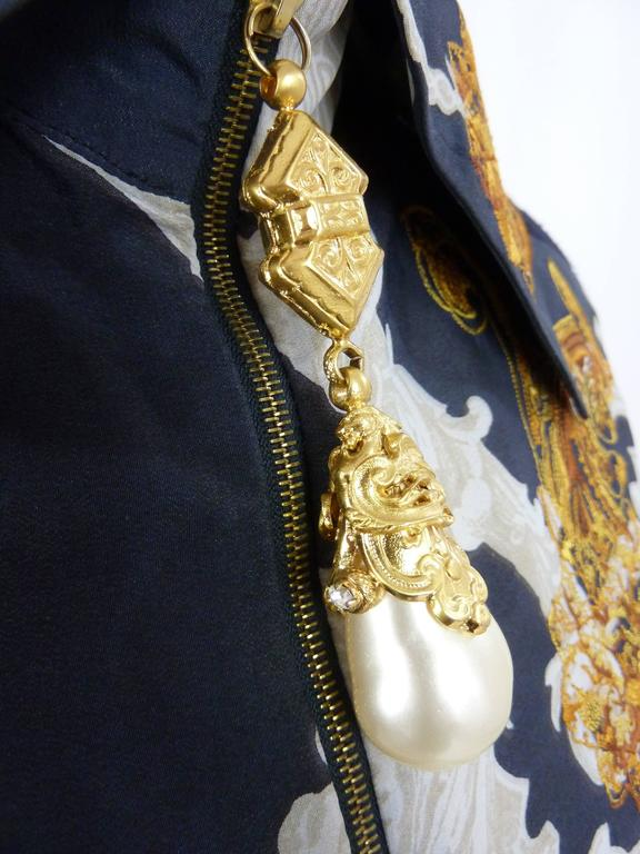 Gianfranco Ferrè baroque vintage blouse blue silk size 38 woman's 1980's 5