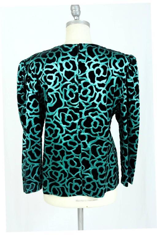 Nina Ricci blouse 1980's vintage baloon sleeves green woman's size 46 4