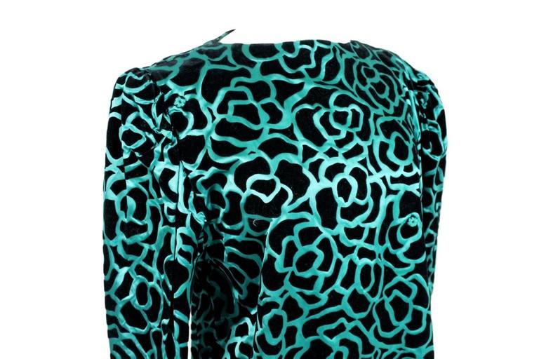 Nina Ricci blouse 1980's vintage baloon sleeves green woman's size 46 3