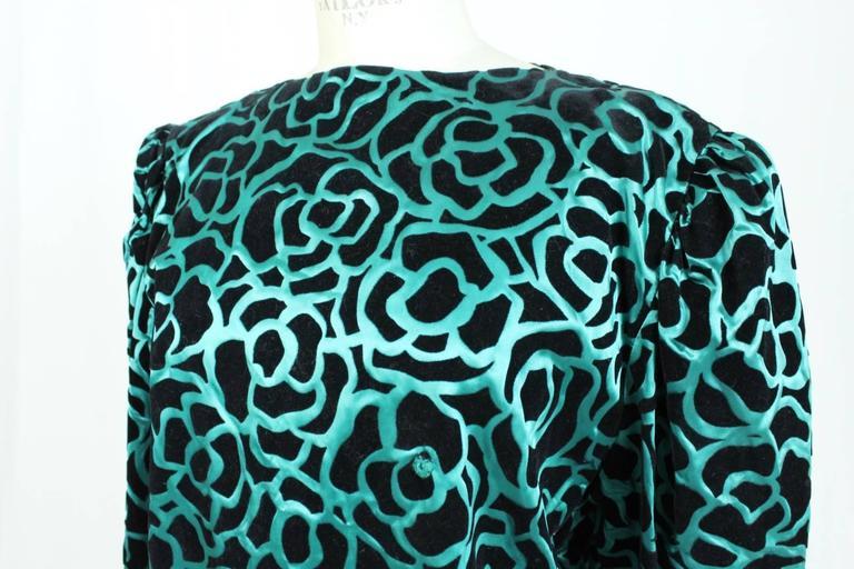 Nina Ricci blouse 1980's vintage baloon sleeves green woman's size 46 5