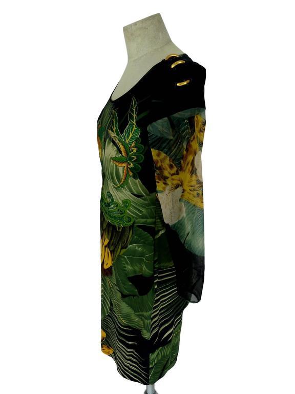 Black Gianfranco Ferrè 1980s silk vintage dress animal print women's vintage size 44 For Sale