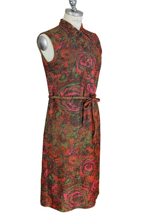 Sorelle Fontana 1960s sleveless dress gleaming metallic floral red wool size 42 In Excellent Condition For Sale In Brindisi, IT