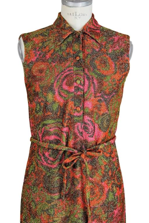 Women's Sorelle Fontana 1960s sleveless dress gleaming metallic floral red wool size 42 For Sale