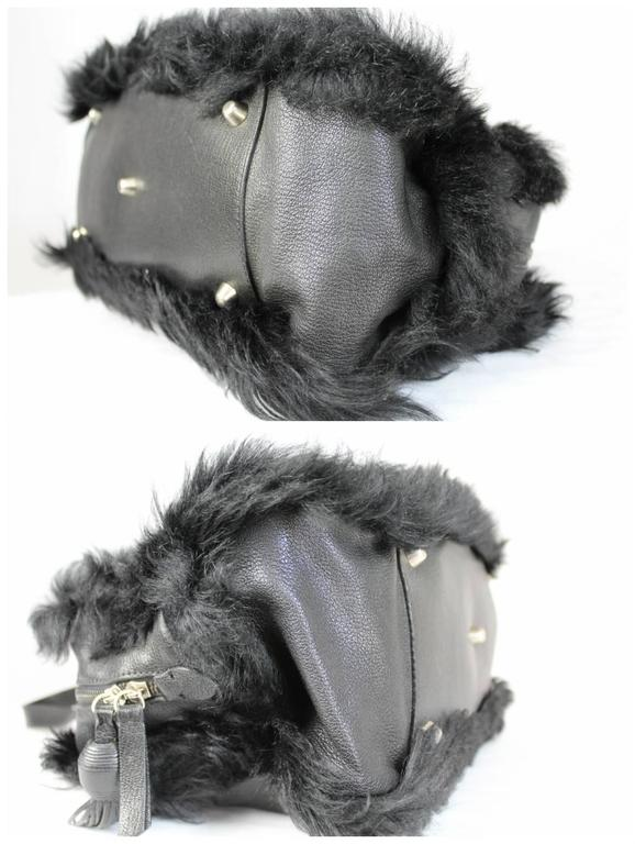 Women's 1990s Moschino Black Fur and Leather Hand Bag  For Sale