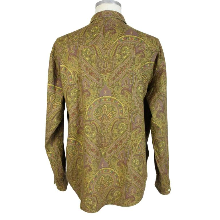 1980s Yves Saint Laurent Brown Cotton Red Paisley Shirt For Sale 2
