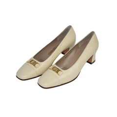 Salvatore Ferragamo ivory leather shoes NWT women's size 9 us made italy new