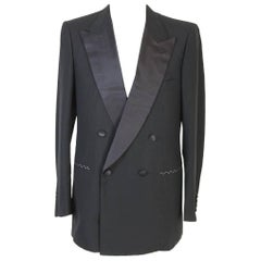 Brioni vintage men's black wool and Satin Double-breasted smoking jacket