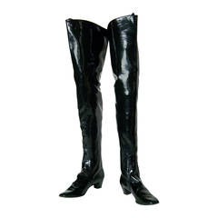 Beth Levine Thigh High Black Vinyl Boots