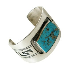 Hopi Sterling Silver and Turquoise Cuff Bracelet