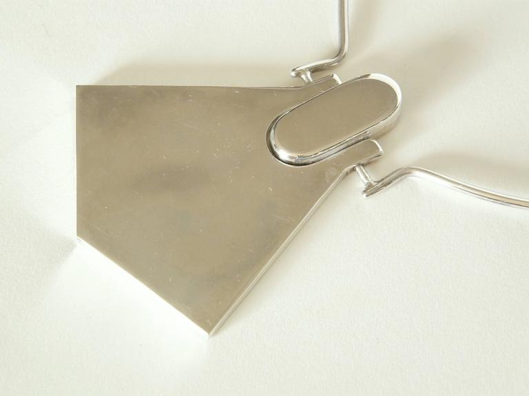 Modernist Sterling Necklace with Geometric Pendant In Good Condition For Sale In Chicago, IL