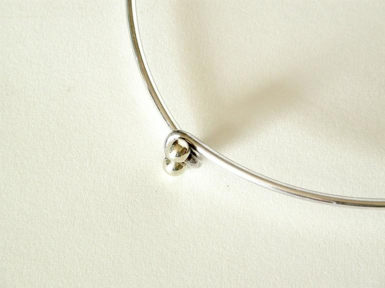 Modernist Sterling Necklace with Geometric Pendant For Sale 1