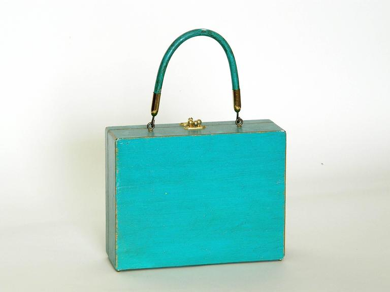 Blue Enid Collins Papier Mache Handbag For Sale
