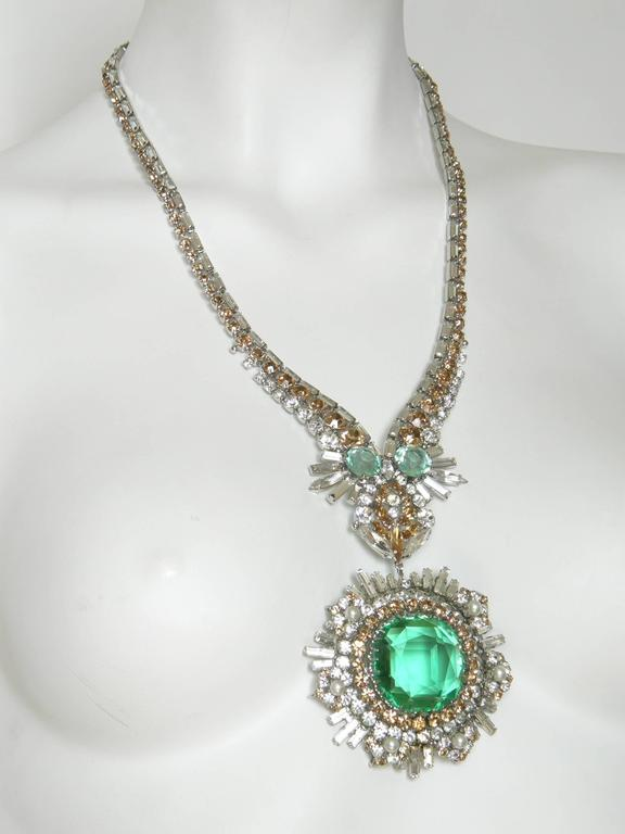 Modernist West German Rhinestone Necklace For Sale