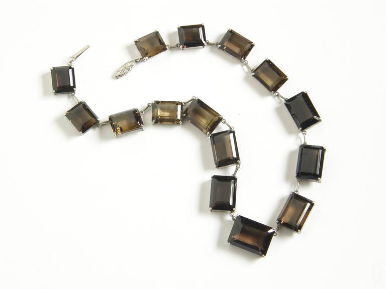 Art Deco Sterling and Smoky Quartz Necklace For Sale
