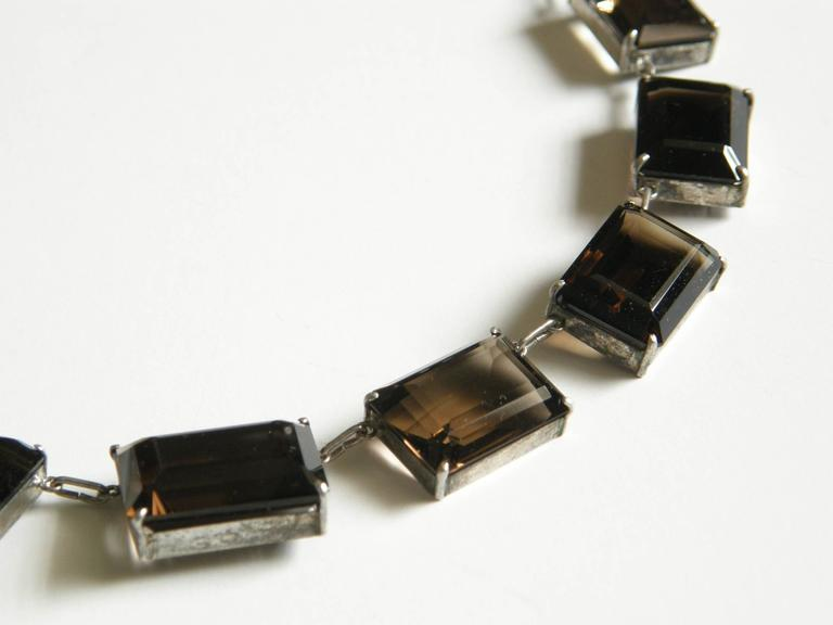 Sterling and Smoky Quartz Necklace For Sale 1