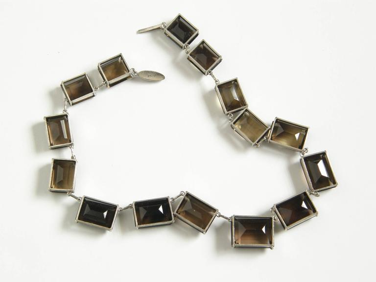 Sterling and Smoky Quartz Necklace For Sale 2