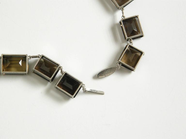 Sterling and Smoky Quartz Necklace For Sale 3