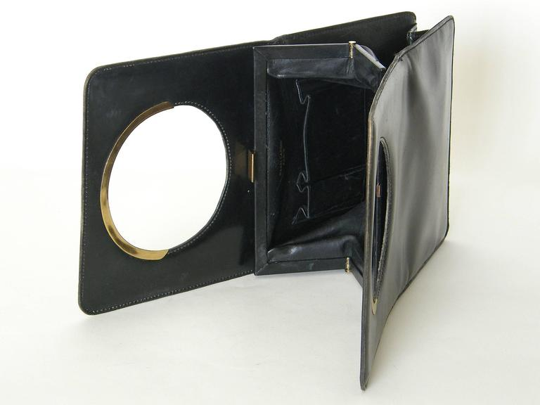 Pierre Cardin Black Leather Handbag For Sale 5