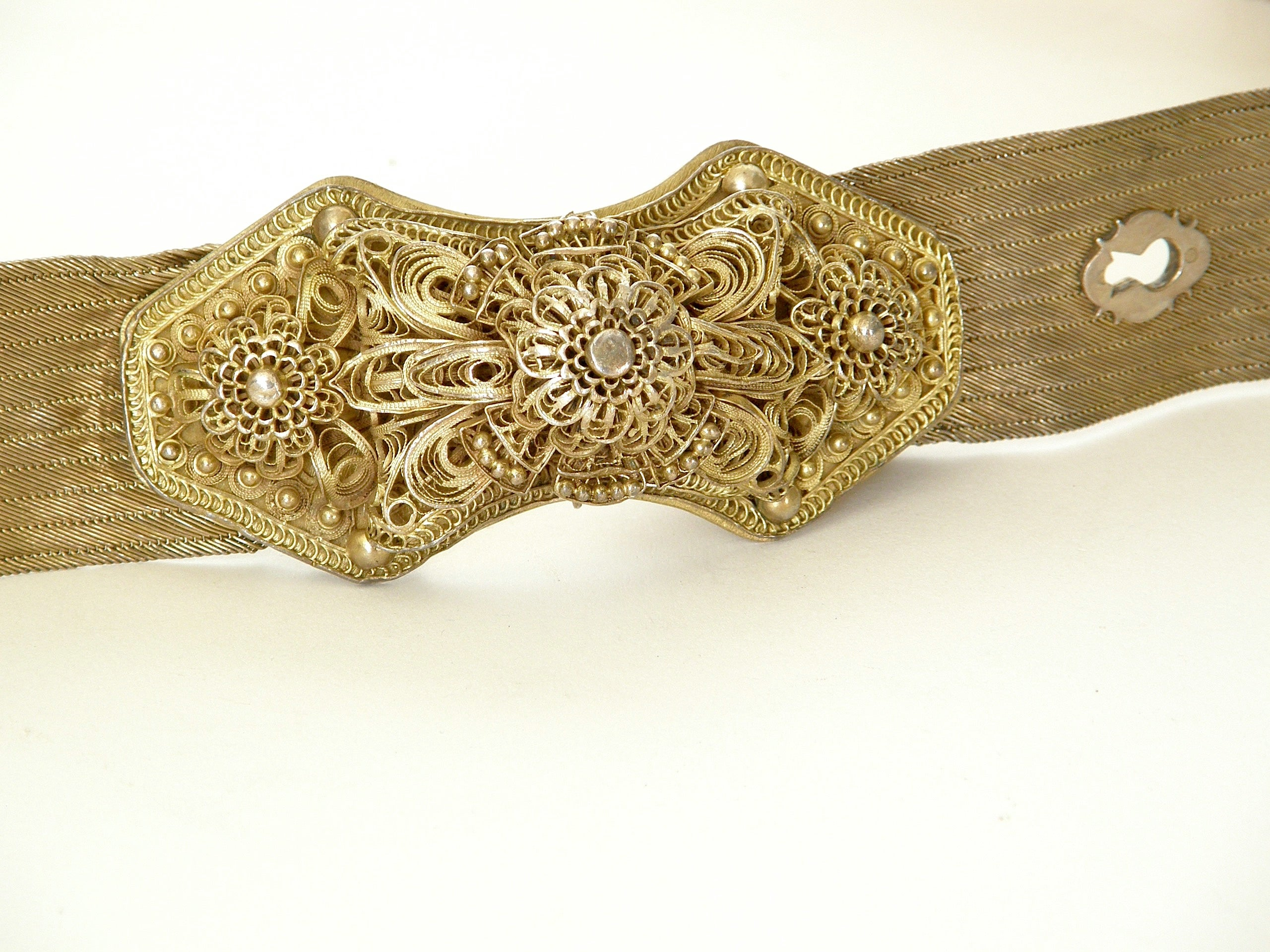 Antique Woven Sterling Mesh Belt with Gold Wash and Elaborate Filigree Buckle