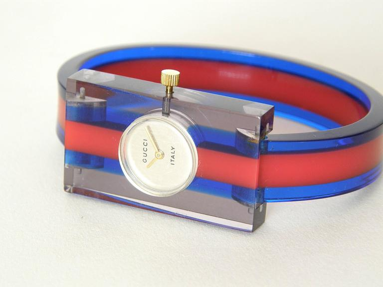 40b1e09eb2d Gucci Lucite Bracelet Watch At 1stdibs