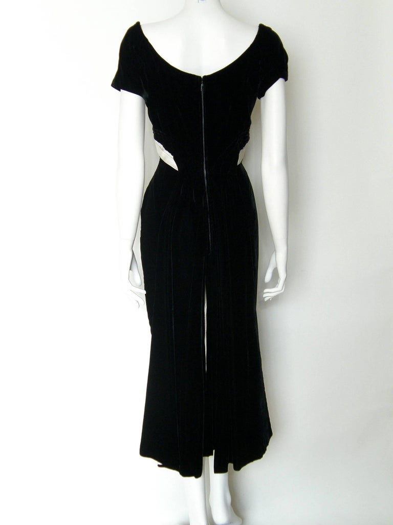Ceil Chapman Black Velvet and Ivory Satin Cocktail Dress 3