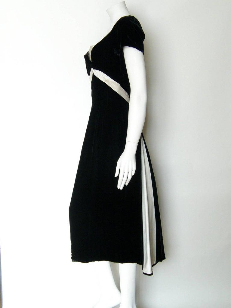 Ceil Chapman Black Velvet and Ivory Satin Cocktail Dress 4