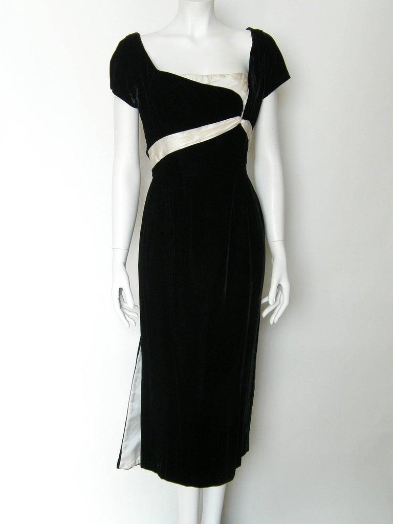 Ceil Chapman Black Velvet and Ivory Satin Cocktail Dress 2