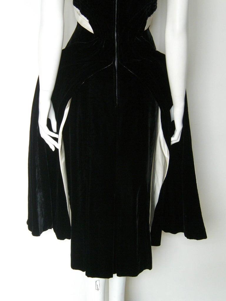 Ceil Chapman Black Velvet and Ivory Satin Cocktail Dress 9