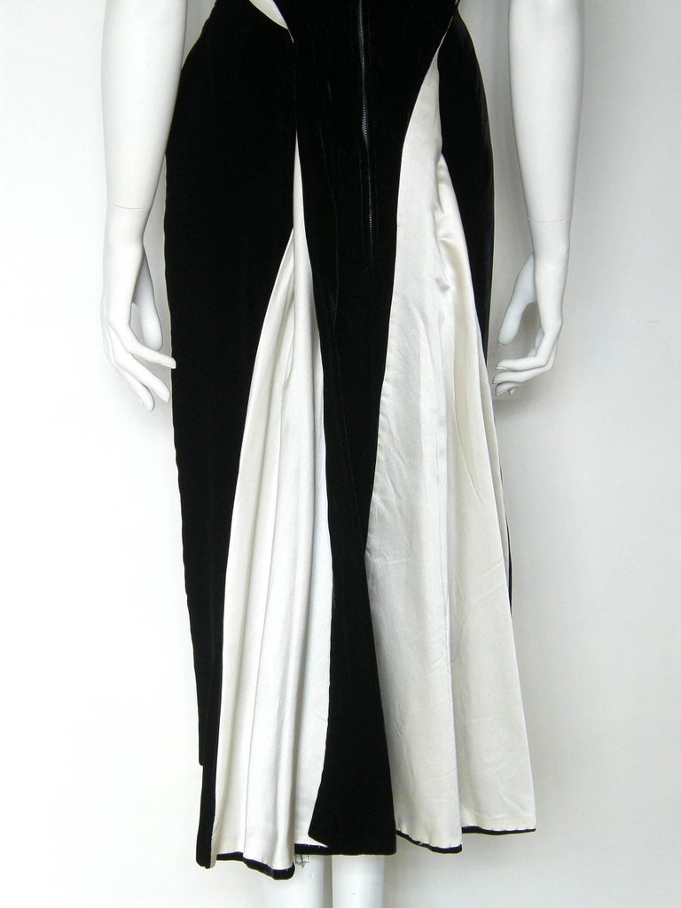 Ceil Chapman Black Velvet and Ivory Satin Cocktail Dress 8