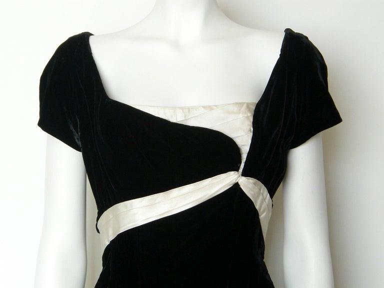 Ceil Chapman Black Velvet and Ivory Satin Cocktail Dress 5