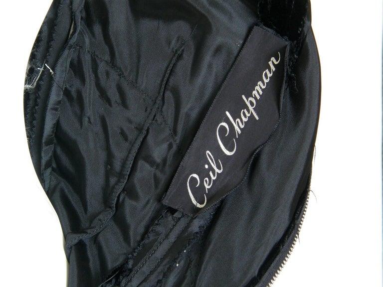 Ceil Chapman Black Velvet and Ivory Satin Cocktail Dress 10