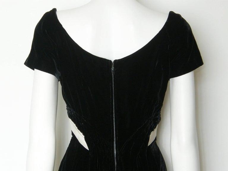 Ceil Chapman Black Velvet and Ivory Satin Cocktail Dress 7