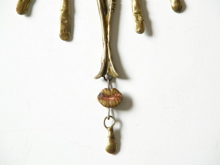 Armando Lozano Ramírez Surrealist Fish Face Necklace and Earrings Set For Sale 1