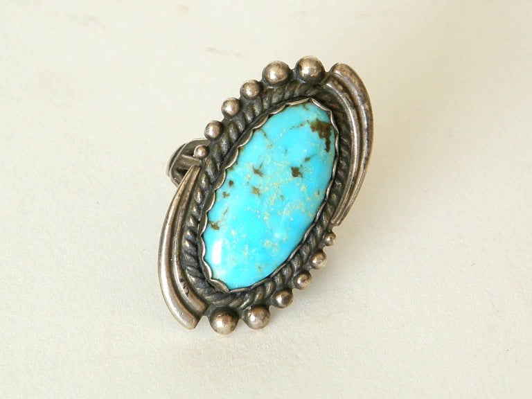 Native American Maisel's Indian Trading Post Sterling and Turquoise Cuff Bracelet and Ring Set For Sale
