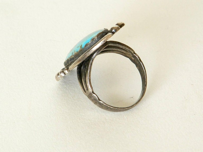 Maisel's Indian Trading Post Sterling and Turquoise Cuff Bracelet and Ring Set In Good Condition For Sale In Chicago, IL