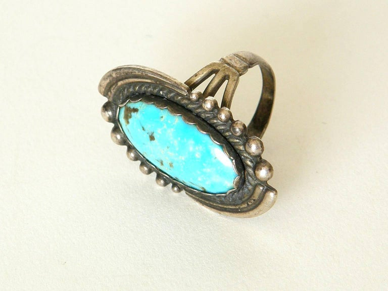Maisel's Indian Trading Post Sterling and Turquoise Cuff Bracelet and Ring Set For Sale 1