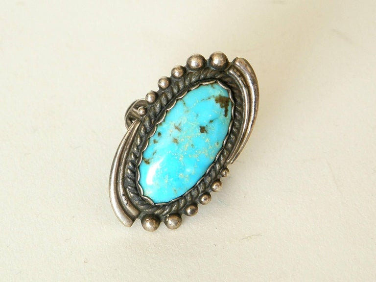 Maisel's Indian Trading Post Sterling and Turquoise Cuff Bracelet and Ring Set For Sale 2