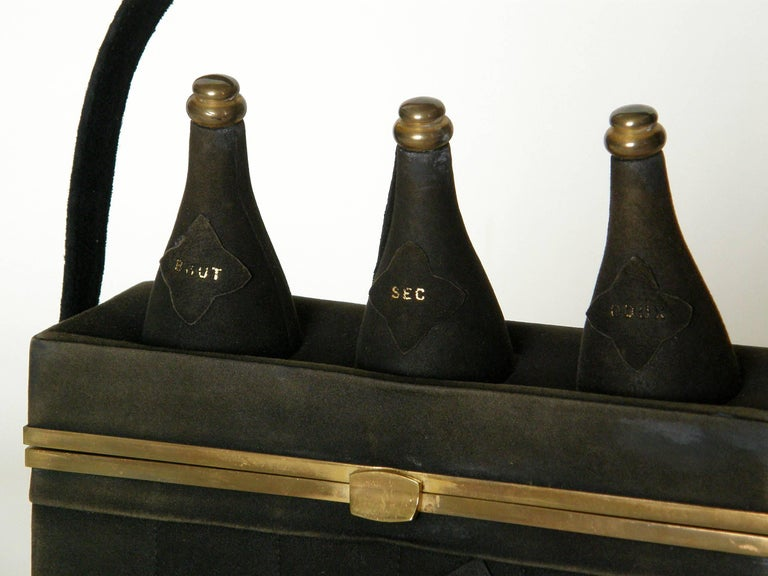 Black Suede Handbag Shaped Like a Crate of Champagne Bottles For Sale 1